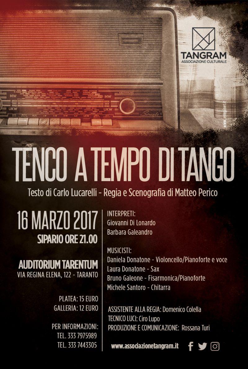 TARANTO: TENCO A TEMPO DI TANGO  Giovedì 16 Marzo 2017, ore 21.00